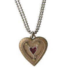 thomas mann: Hammered Garnet Heart Necklace