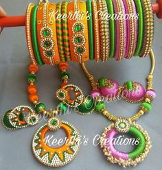 Silk Thread Bangles, Thread Jewellery, Terracotta Jewellery Designs, Beaded Necklace Patterns, Printed Gowns, Peacocks, Fashion Accessories, Handmade Jewelry, Jewelry Design