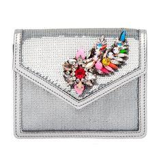 Shourouk Silver Neon Mini Sequin Clutch