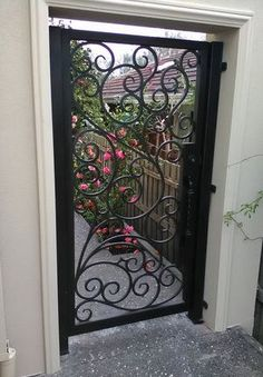 View our wrought large range of wrought iron products. From Wrought Iron Gates to Wrought Iron doors to Wrought Iron balustrades, we've got it all. Or visit our Melbourne showroom today! Wrought Iron Handrail, Iron Handrails, Wrought Iron Decor, Wrought Iron Fences, Iron Gate Design, House Gate Design, Door Design, Design Design, Iron Doors