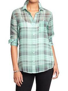 Womens Plaid Chiffon Shirts (teal plaid)