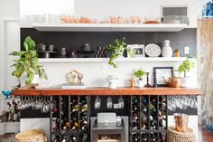 This chef has turned her 635 square foot Brooklyn apartment into a place of gathering and good food—she lives, works and entertains in this small home. Fridge Storage, Small Kitchen Organization, Kitchen Storage Solutions, Diy Kitchen Storage, Smart Kitchen, Wine Storage, Organizing Solutions, Storage Ideas, Kitchen Organizers