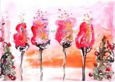 *Kayem Art Poster Rote Tulpen Hochglanz handsigniert