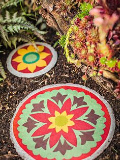 These enchanting stepping-stones rival a rainbow with their riotous color! But it's not paint that beautifies them: It's fabric. And the pavers are amazingly easy to make yourself.   Make this project.