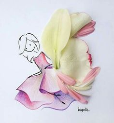 Amazing Art with pink and yellow flowers Art Floral, Unique Drawings, Art Drawings, Flower Petals, Flower Art, Flower Girls, Vincent Bal, Floral Illustrations, Illustration Art