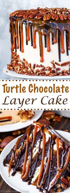 Turtle Chocolate Layer Cake ~ Recipe | Queenslee Appétit Mini Cakes, Cupcake Cakes, Cupcakes, Layer Cake Recipes, Dessert Recipes, Layer Cakes, Chocolate Turtles, Salted Caramel Chocolate Cake, Dessert Chocolate