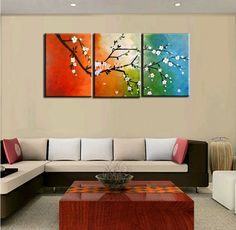 piece abstract modern canvas wall art colorful triptych handpainted ...