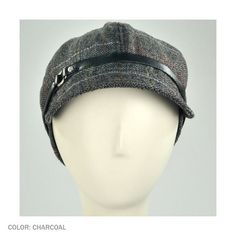 """Scala Belt Jockey Cap (Charcoal) The Scala Belt Jockey Cap is beautiful both inside and out!     The jockey shaped cap is perfect for Fall. With a cute pattern and comfortable satin lining, you're bound to feel good rocking this Scala Jockey Cap!     Approx. 3 3/4"""" crown.  Approx. 2"""" bill/visor  1/2"""" hatband    Made of: 100% polyester    Belt hatband  Satin lining    Size: 1-size fits most. Fits up to size 7 1/8 comfortably. - $ 22"""