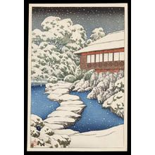 川瀬巴水: Snow at a Guest House on Ponds Edge - Japanese Art Open Database