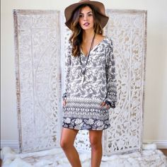 Bohemian style tunic dress Perfect spring dress. Fully lined and features side pockets.  We love this gorgeous dress.  Small, medium and large available ... Just comment size you will need . 100% polyester. Dresses Long Sleeve