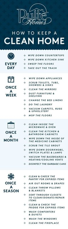 With the holidays around the corner, it's time to make sure your home is in guest-ready condition! Keep your house sparkling with these easy tips on how often to clean each corner of your home. PIN now and use later as your go-to checklist! | Pulte Homes #cluttertoclean #kitchenorganization