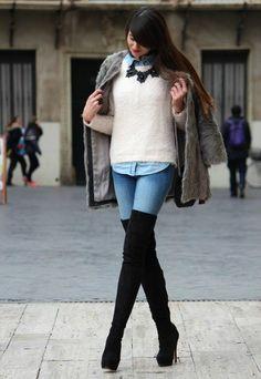 """Moda urbana con botas altas - """"Bota Cuissarde"""" volta com força total no inverno 2015! Acesse: https://pitacoseachados.wordpress.com #pitacoseachados"""