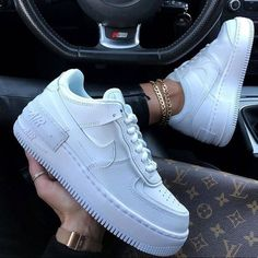 Shop Women's Nike White size Various Sneakers at a discounted price at Poshmark. Description: Nike shadow sneakers New with box. Nike Shoes Air Force, Nike Air Force Ones, Nike Air Force 1 Outfit, Air Force Sneakers, Nike Af1, White Nike Shoes, White Nikes, Cool Nike Shoes, All White Shoes
