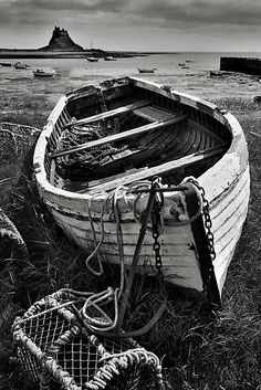Old boat and lobster pots, oldie, aged, beauty, decay, Ocean view, photograph, photo b/w.