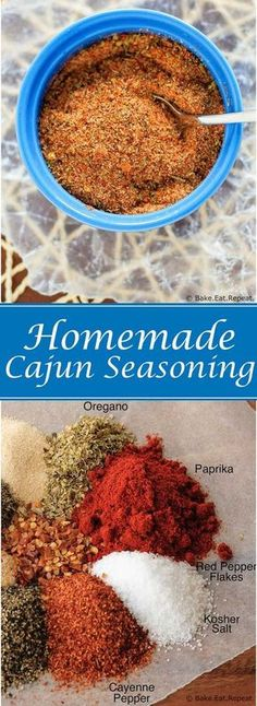 Homemade Cajun Seasoning - Quick and easy homemade cajun seasoning that you probably have all the ingredients for already! You'll never need to buy pre-made cajun seasoning again! Read More by BakeRepeat Cajun Seasoning Recipe, Seasoning Mixes, Cajun Marinade Recipe, Easy Chicken Seasoning, Cajun Spice Recipe, Cajun Spice Mix, Marinade Chicken, Seafood Seasoning, Barbecue Sauce