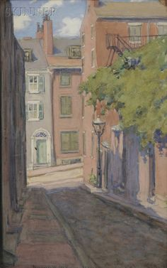 Jeannette W. McMullin (American, 19th/20th Century) Acorn Street, Beacon Hill, Boston | Sale Number 2560B, Lot Number 519 | Skinner Auctioneers | Sold for $1,422