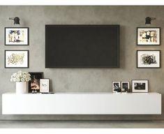 Living Room Wall Units, Living Room Tv Unit Designs, Home Living Room, Living Room Decor, Bedroom Tv Unit Design, Living Room Cabinets, Floating Tv Cabinet, Floating Tv Unit, White Tv Cabinet