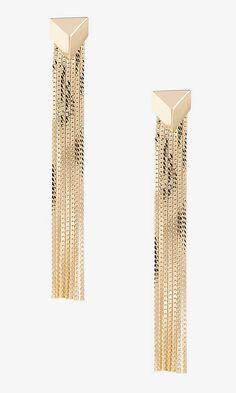 Metal Fringe Geo Post Drop Earrings | Express