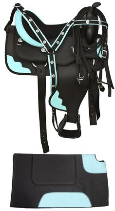 Premium Black Blue Synthetic Horse Saddle With Tack 16-17. For you know, someday when i actually own a horse :)