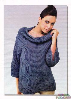 Модный пуловер с косой - Жакеты,Пуловеры, свитера - Вязание спицами - Рукоделие - Страна рукоделия