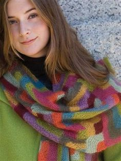 Modern Quilt Wrap Scarf, As Seen on Knitting Daily TV Episode 105 - Knitting Daily  Free pattern for members (free to join).  Love the colors.