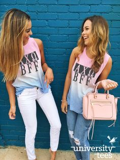 Because you and your BFF deserve these ombre tanks | Alpha Chi Omega | Made by University Tees | www.universitytees.com
