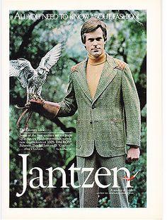 Original Print Ad-1974 JANTZEN-All you Need To Know About Fashion-Man W/Falcon | eBay
