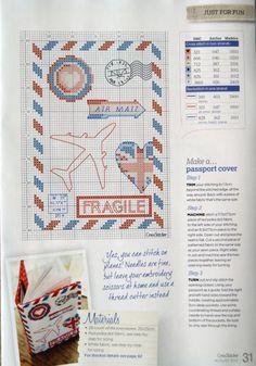 0 point de croix grille et couleurs de fils carte postale avion fragile