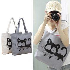 New Fashion #WomenHandbag Cat Eat Fish Pattern Print Casual Cute #ShoulderBag White/Grey
