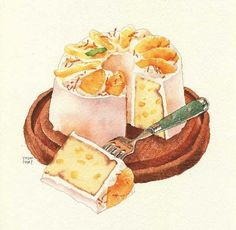 orange and peach slice cake illustration-no author mentioned Dessert Illustration, Watercolor Illustration, Desserts Drawing, Cute Food Art, Chibi Food, Pinterest Instagram, Watercolor Food, Watercolour, Food Sketch
