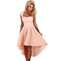 131286590e1 Cfanny 2017 New Summer Dress Women Sexy Pink Stripe Dip Hem Midi Swing Dress  Retro Vintage Dress Elegant Party Dresses