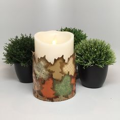 Buy Me on URCRafti.com! Flameless Candle - Decoupage Ink Distressed Fall Leaves by Donna Braden At least Pin Me so everyone can see!