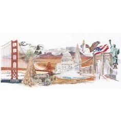 Alle highlights van Amerika gevangen in dit prachtige, gedetailleerde borduurwerk.