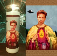 Saint Fox Mulder Prayer Candle / David by PurgatoryPenPals on Etsy