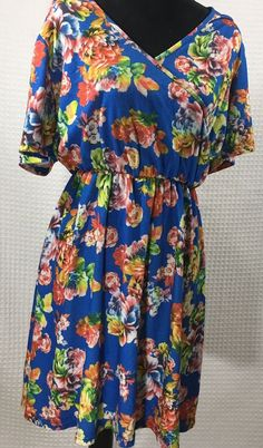 Flor Gwynnie Bee Blue Orange Floral Print Wrap Dress Plus Size 1X Jersey Stretch  | eBay