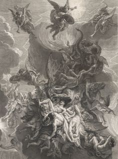 Fall of the Rebel Angels, c.1685/86 ~ by Alexis Loir, after Charles Le #Brun  #drawing