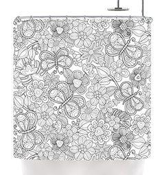 "Kess InHouse Julia Grifol ""My Butterflies and Flowers in ... #shower #flowers #pattern #butterflies #nature #shower#homedecor #decor #textile #textiledesign #art #kessinhouse #curtain #whiteandblack"