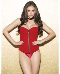 Sexy Lingerie Holiday Velvet Corset Zip Up Front Lace Up Back Red 34  #ShirleyofHollywood #Sexy #Glamour
