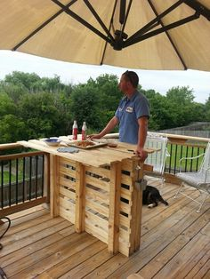 You can now create pallet wood outdoor bar or table for your convenience. It will surely give your outdoors a pleasant look. You can also make it at your balcony. This project has been made with some shipping and some recycled pallet woods.
