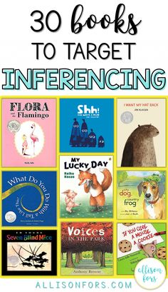 Making inferences is a key part of skilled reading comprehension and effective c. - - Making inferences is a key part of skilled reading comprehension and effective communication. Use these 30 books to target inferencing in speech therapy and more! Speech Therapy Activities, Language Activities, Book Activities, Articulation Activities, Inference Activities, Educational Activities, Reading Strategies, Reading Skills, Teaching Reading