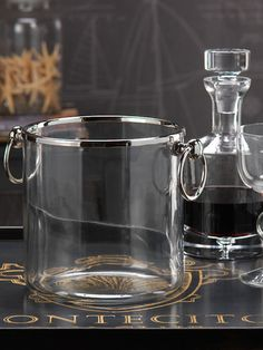 Silver Rimmed Glass Ice Bucket by Hewson