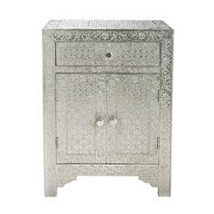 Nachttisch im indischen Stil aus massivem Mangoholz, B 45cm