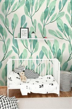 Green watercolor leaf wallpaper, Botanical leaves wallpaper for nursery, Light green leaves removable wallpaper, Botanical design wall mural Green Watercolor, Watercolor Leaves, Wallpaper Material, Kindergarten Wallpaper, Discount Bedroom Furniture, Peel And Stick Wallpaper, Leaves Wallpaper, Botanical Wallpaper, Child Room