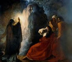 Painting of King Saul and the spirit of the prophet Samuel, summoned by the witch of Endor, to illustrate my poem, The Witch of Endor.