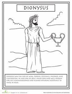 Worksheets: Greek Gods: Dionysus