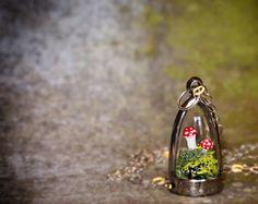 Terrarium Moss and Mushroom Dome Necklace