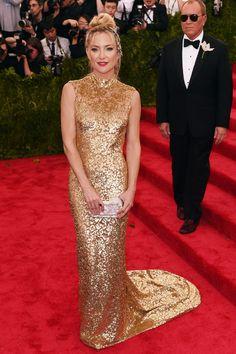 Kate Hudson in a Michael Kors gown 2015 Met Gala held at the Metropolitan Museum of Art in New York City (4-5-15) Monday