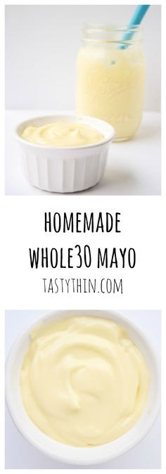 Homemade Whole30 Mayonnaise - heart-healthy, creamy and delicious compliant mayo that is a cinch to make with only a few ingredients!   tastythin.com