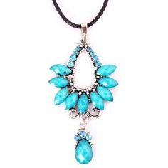 WOMEN'S PARTY CRYSTAL FLOWER PENDANT NECKLACE