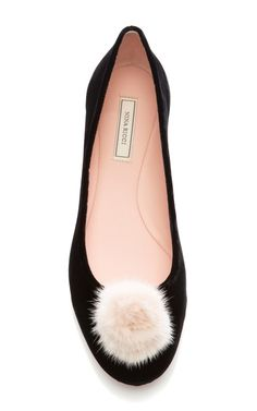 Velvet Flats with Mink Pom-Pom by Nina Ricci Now Available on Moda Operandi